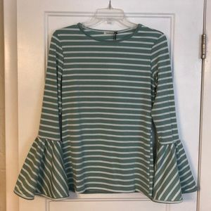 Fitted Stripe Tee with Bell Sleeves